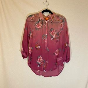 Half Button Down Floral Tunic
